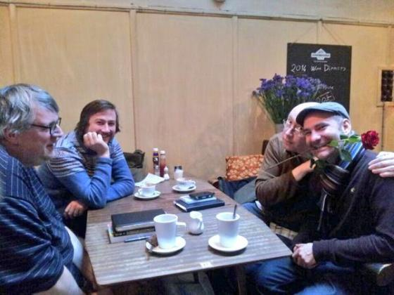 James Walker, Adrian Reynolds, Al Needham and Rikki Marr at an editorial meeting on Valentine's Day...hence the prop.