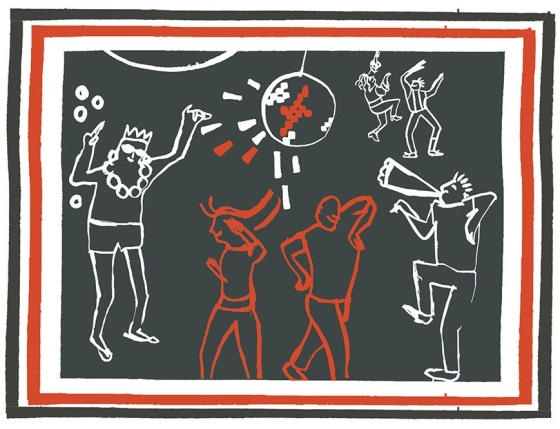 Judit Ferencz's distinctive woodcut drawings of an illegal rave in a disused library