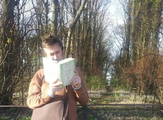 One of my many literary pilgrimages - reading Some Kind Of Fairy Tale in woods on holiday