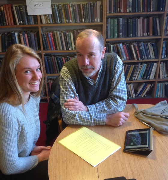 Ella Joyce and David Belbin discussing their forthcoming chapter at Bromley House Library