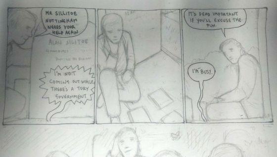 First pencil sketches for Alan Sillitoe chapter. Artist: Carol Swain Writer: James Walker (me)