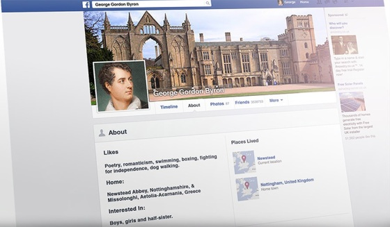 We mocked up a FB page for Lord Byron in an Issue 5 embedded essay.