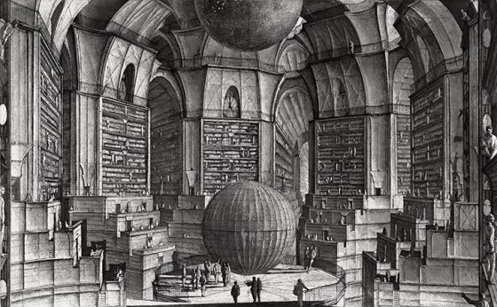 "The Library of Babel: ""Each shelf contains thirty-five books of uniform format; each book is of four hundred and ten pages; each page, of forty lines, each line, of some eighty letters which are black in color."""