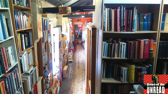 Trenches of books twist and tower above as you navigate the shop.